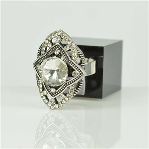 Adjustable Strass Ring Silver Full Strass New Collection 78508