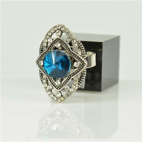 Adjustable Strass Ring Silver Full Strass New Collection 78510