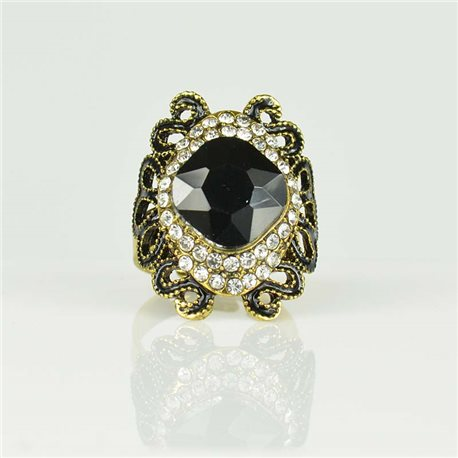 Adjustable Strass Ring Gold Full Strass New Collection 78511