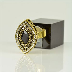 Adjustable Strass Ring Gold Full Strass New Collection 78519