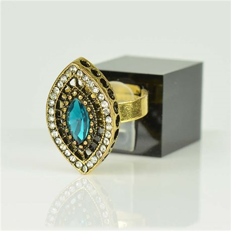 Adjustable Strass Ring Gold Full Strass New Collection 78522