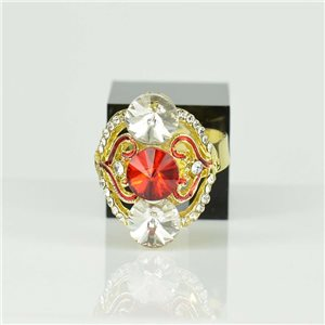 Adjustable Strass Ring Gold Full Strass New Collection 78529