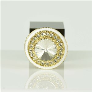 Adjustable Strass Ring Gold Full Strass New Collection 78560