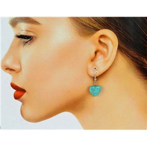1p Silver Metal Hook Earrings in Blue Howlite Stone 78629