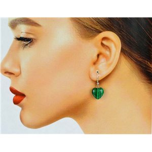 1p Malachite Stone Silvery Metal Hook Earrings 78631