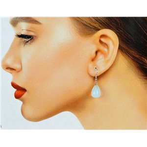1p Moonstone Stone Silvery Metal Hook Earrings 78590
