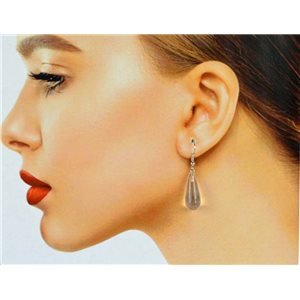 1p White Quartz Stone Silver Metal Hook Earrings 78601