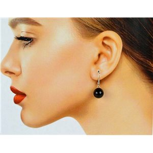 1p Obsidian Stone Silvery Metal Hook Earrings 78636