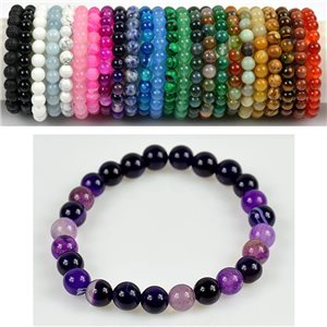 8mm Pearl Bracelet in Purple Agate Stone on elastic thread 78666