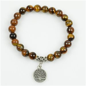 Tree of Life Beads Lucky Bracelet 8mm in Tiger Eye Stone on elastic thread 78691