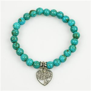Lucky Tree of Life Bracelet 8mm Pearls in Turquoise Howlite Stone on elastic thread 78699