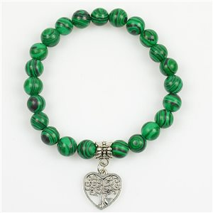 Lucky Tree of Life Beads Bracelet 8mm in Malachite Stone on elastic thread 78700
