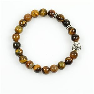 Buddha Lucky Bracelet 8mm Beads in Tiger Eye Stone on elastic thread 78715