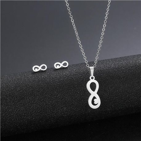 Stainless Steel Set on 44cm stainless steel chain - SILVER Steel Collection 78730
