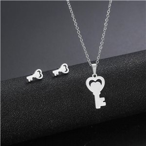Stainless Steel Set on 44cm stainless steel chain - SILVER Steel Collection 78731