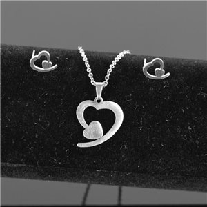 Stainless Steel Set on 44cm stainless steel chain - SILVER Steel Collection 78732