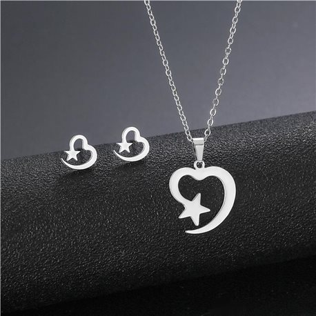 Stainless steel set on 44cm stainless steel chain - SILVER Steel Collection 78733