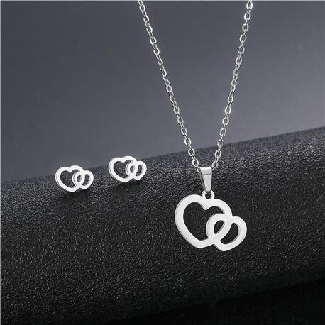 Stainless Steel Set on 44cm stainless steel chain - SILVER Steel Collection 78735
