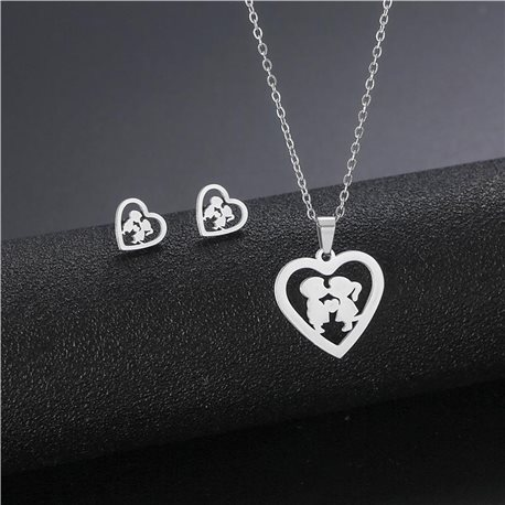 Stainless Steel Set on 44cm stainless steel chain - SILVER Steel Collection 78737