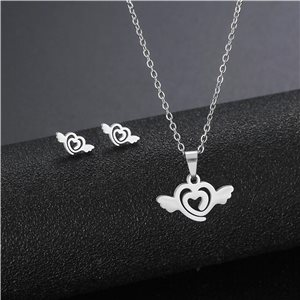 Stainless Steel Set on 44cm stainless steel chain - SILVER Steel Collection 78739