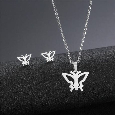Stainless Steel Set on 44cm stainless steel chain - SILVER Steel Collection 78742