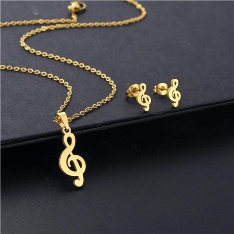 Stainless Steel Set on 44cm stainless steel chain - GOLD Steel Collection 78743