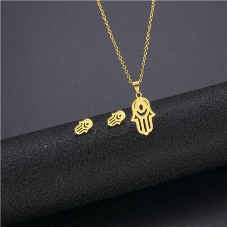 Stainless Steel Set on 44cm stainless steel chain - GOLD Steel Collection 78747