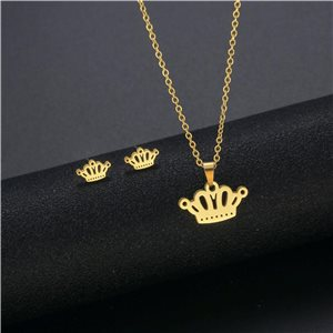 Stainless Steel Set on 44cm stainless steel chain - GOLD Steel Collection 78749
