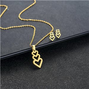 Stainless Steel Set on 44cm stainless steel chain - GOLD Steel Collection 78752
