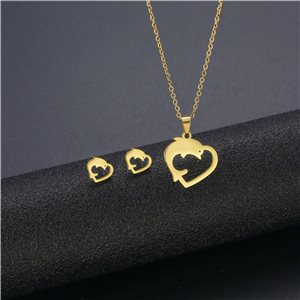 Stainless Steel Set on 44cm stainless steel chain - GOLD Steel Collection 78755