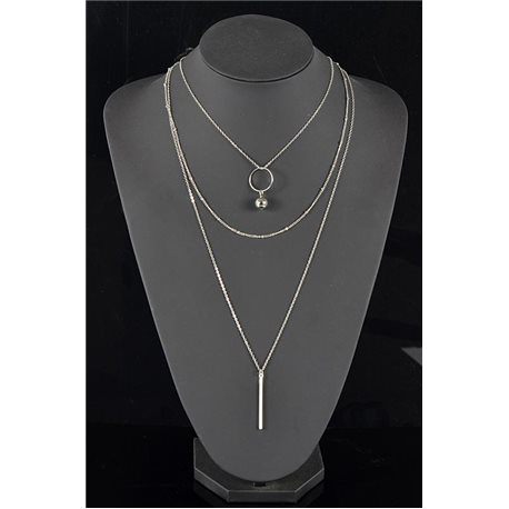 Silver Plated Triple Row Long Necklace New Collection 78568