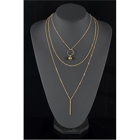 Gold Metal Triple Row Long Necklace New Collection 78569