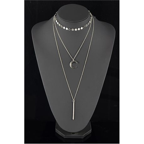 Silver Plated Triple Row Long Necklace New Collection 78570