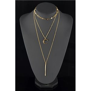 Gold Metal Triple Row Long Necklace New Collection 78571