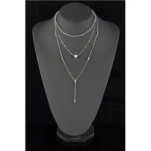 Silver Plated Triple Row Long Necklace New Collection 78572