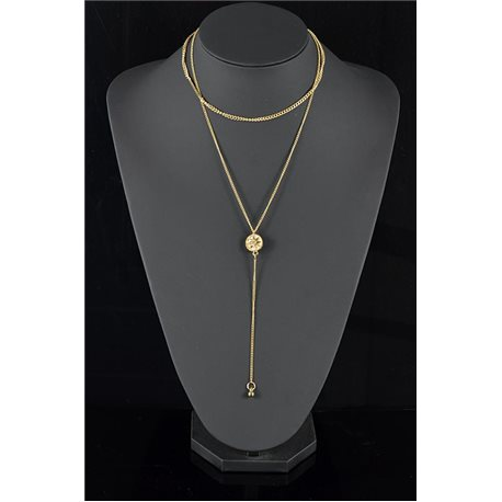 Gold Metal Triple Row Long Necklace New Collection 78575
