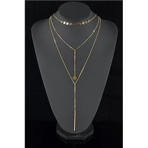 Collier Sautoir Triple Rang métal Doré New Collection 78577