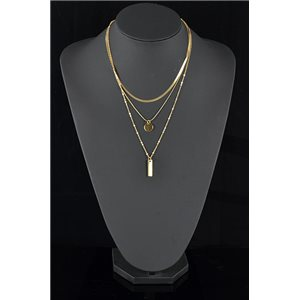 Gold Metal Triple Row Long Necklace New Collection 78579