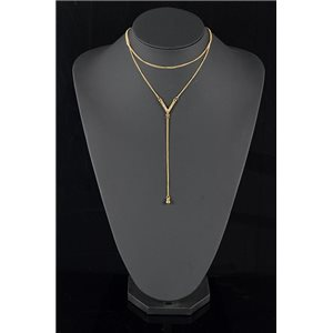 Gold Metal Triple Row Long Necklace New Collection 78581