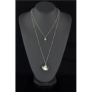 Silver Plated Triple Row Long Necklace New Collection 78582