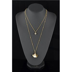 Gold Metal Triple Row Long Necklace New Collection 78583