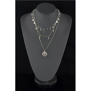 Silver Plated Triple Row Long Necklace New Collection 78584
