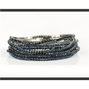 Lot of 10 - Stretch bracelet set with sparkling rhinestones on Anthracite mesh 78953