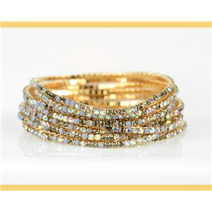 Lot of 10 - Stretch bracelet set with sparkling rhinestones on mesh Gold 78979