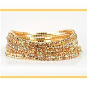 Lot of 10 - Stretch bracelet set with sparkling rhinestones on mesh Gold 78980