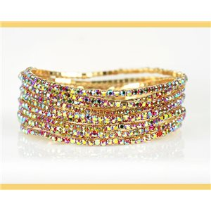 Lot of 10 - Stretch bracelet set with sparkling rhinestones on mesh Gold 78983