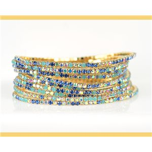 Lot of 10 - Stretch bracelet set with sparkling rhinestones on mesh Gold 78997