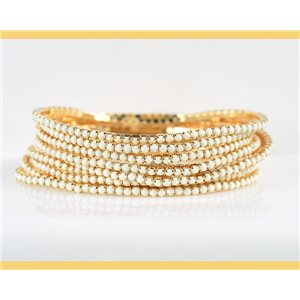 Lot of 10 - Stretch bracelet set with sparkling rhinestones on mesh Gold 78901