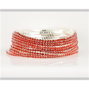Lot of 10 - Stretch bracelet set with sparkling rhinestones on silver mesh 78916