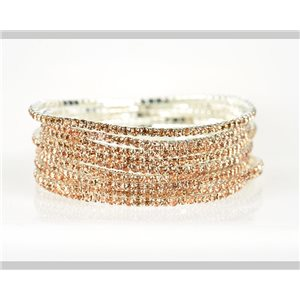 Lot of 10 - Stretch bracelet set with sparkling rhinestones on silver mesh 79007
